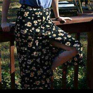 90s sunflower button down black skirt daisy
